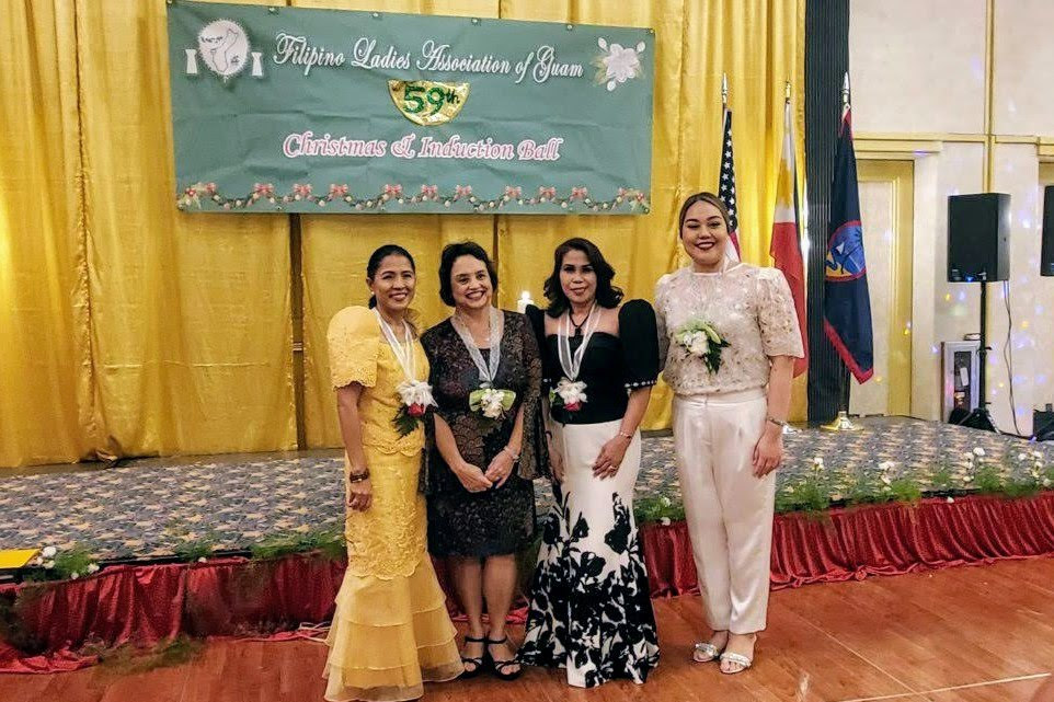 Guam Governor Lourdes Leon Guerrero (second from left) and Senator Amanda Shelton (rightmost) of the 35th Guam Legislature were among the special guests during the 59th Induction and Christmas Ball of FLAG. (Photo: PCG Agana)