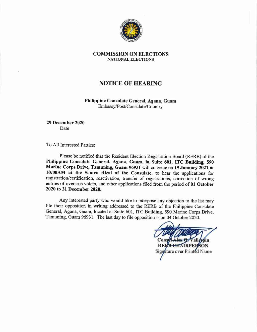 Notice of Hearing of the Resident Election Registration Board (RERB) on 19 January 2021