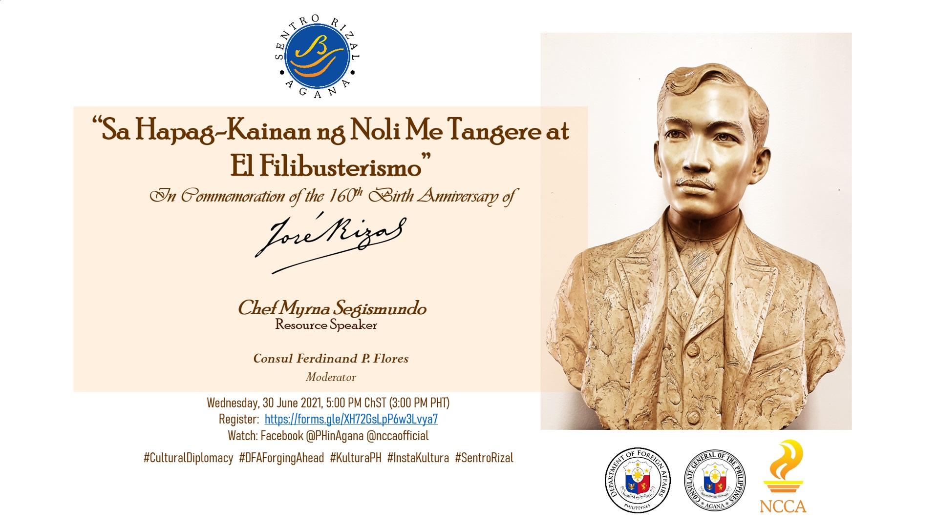 Save the Date: Sa Hapag-Kainan ng Noli Me Tangere at El Filibusterismo ni Dr. Jose P. Rizal, 30 June 2021