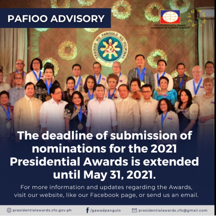 Presidential Awards for Filipino Individuals and Organizations Overseas (PAFIOO) Nomination Extended until 31 May 2021