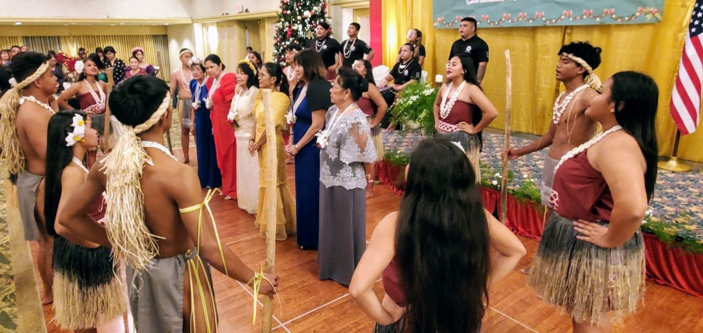 The I'Manelu Cultural Dance Group presented a ceremonial Chamorro dance that included a traditional chanted blessing for FLAG officers at their 59th Induction and Christmas Ball. (Photo: PCG Agana)