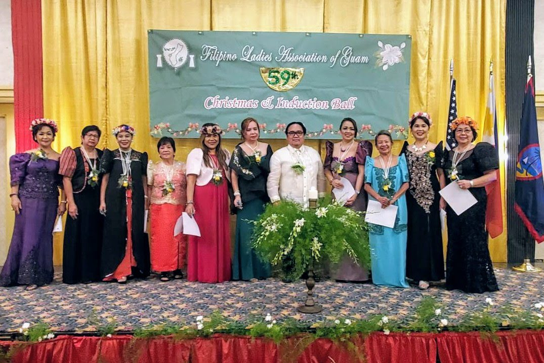 The newly inducted Board of Directors of the Filipino Ladies Association of Guam pose for a photo with Consul Mark Francis C. Hamoy (5th from right), Acting Head of Post of the PHL Consulate General in Agana, Guam. (Photo: PCG Agana)