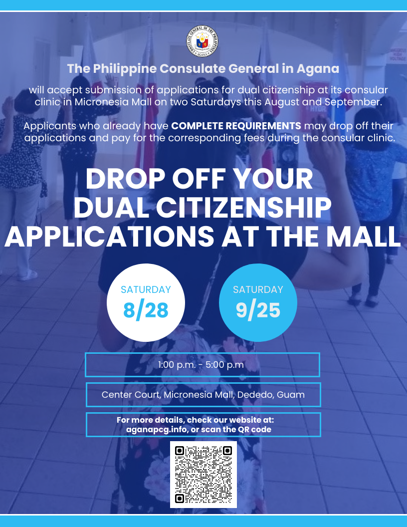 Dual Citizenship Application Drop-off -- 28 August 2021 & 25 September 2021 at the Micronesia Mall