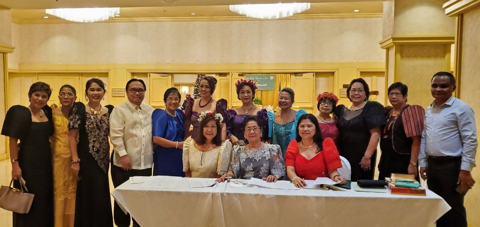 Consul Mark Francis C. Hamoy (4th from left), Acting Head of Post of the PHL Consulate General in Agana, Guam, poses for a photo with FLAG members during their 59th Induction and Christmas Ball. (Photo: PCG Agana)