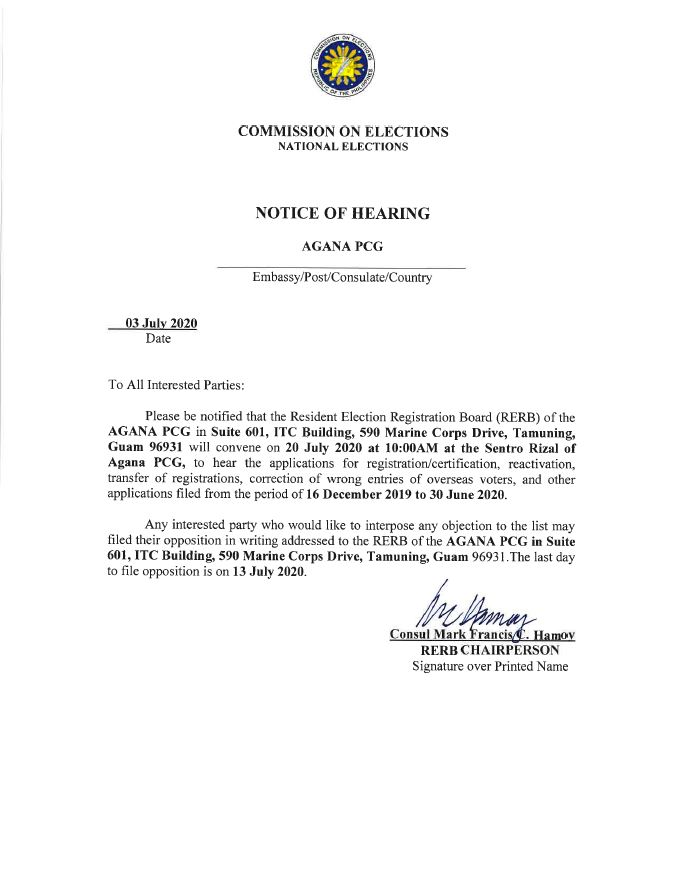 Notice of Hearing of the Resident Election Registration Board (RERB)