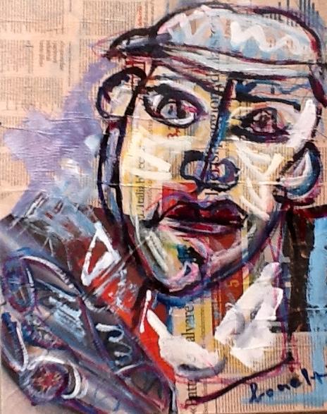 Il Meccanico (2013 - Tecnica mista e collage su tela - 40x50) Collezione Privata - Bergamo