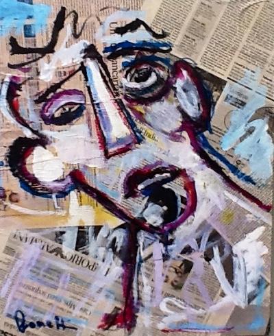 Volto (2013 - Tecnica mista e collage su tela - 40x50)