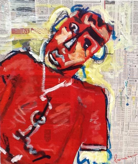 Rosso (2013 - Tecnica mista e collage su tela - 50x60) Collezione Privata – Annapolis (USA)