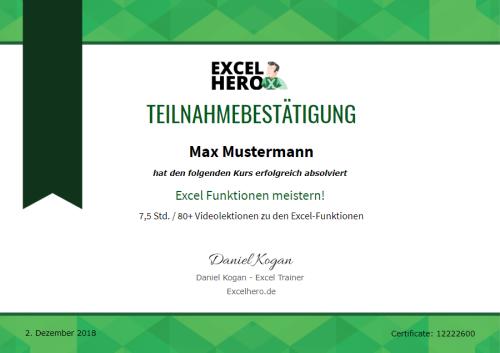 Excel Online Kurs mit Zertifikat