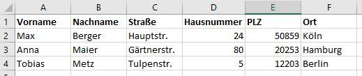 Beispiel für Adressliste in Excel