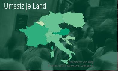 Kartendiagramm für Umsatz je Land