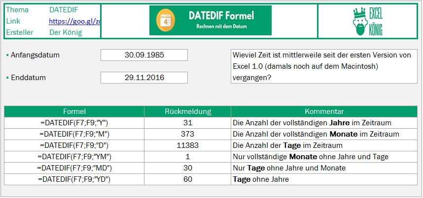 Beispiel DATEDIF Formel