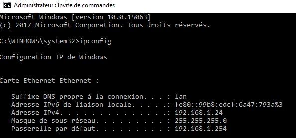 Microsoft Windows invite de commande ipconfig