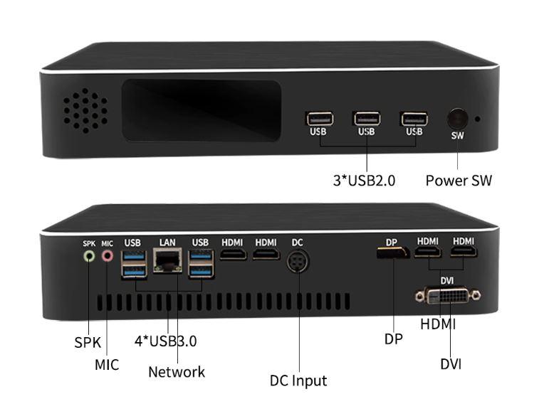 Partaker B16 I7 8gen interface connectique