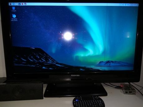 Le bureau Raspbian avec corbeille, navigateur internet, menu ...