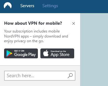 Zoom sur le coin en haut à gauche du VPN