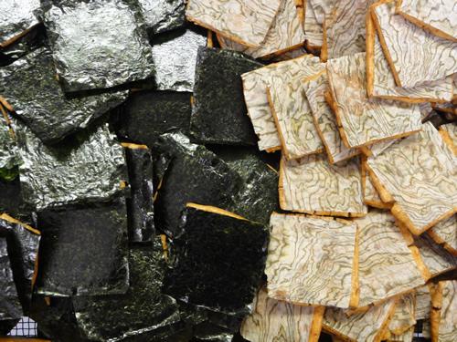焼き海苔、おぼろ昆布せんべい