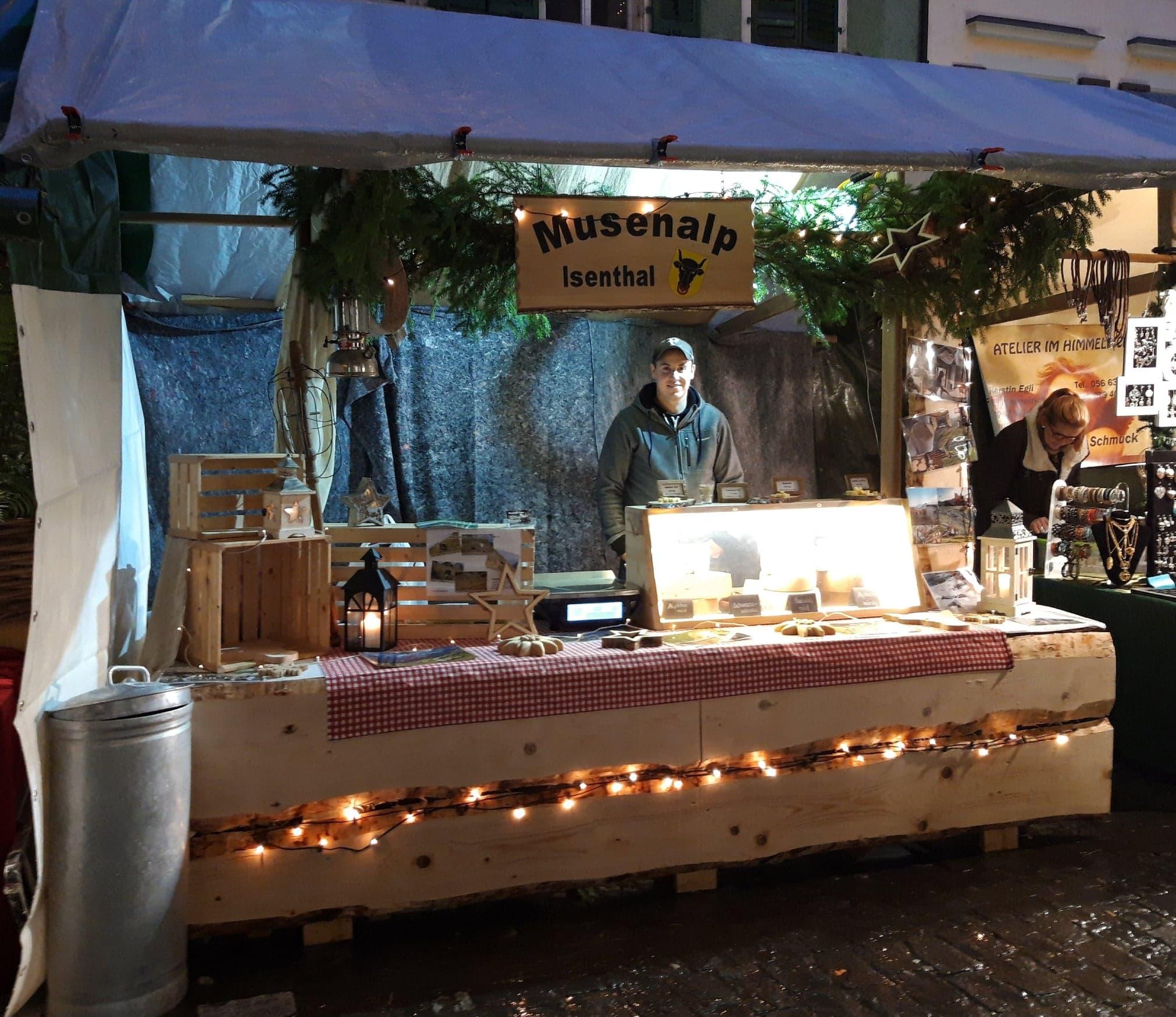Unser Marktstand am Weihnachtsmarkt in Bremgarten...