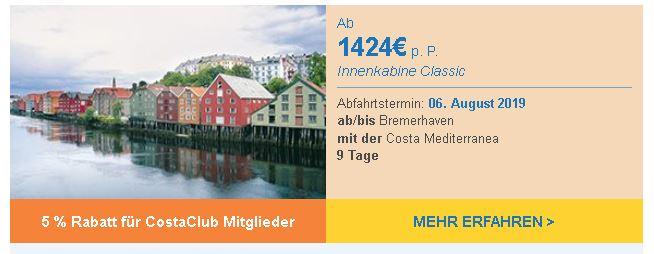 Costa Kreuzfahrten nach Norwegen Nordsee ab/bis Bremerhaven  Juni July August September mit Costa Mediterranea hier günstig buchen