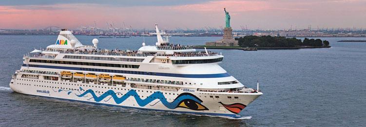 Kreuzfahrt mit AIDAcara hier vor New York (c) Aida Cruises Rostock