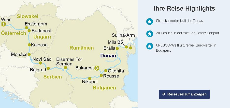 MS Nestroy Donau-Flusskreuzfahrt ab/bis Wien ins Donau-Delta incl. Inlandsflug und Fluganreise nach Wien