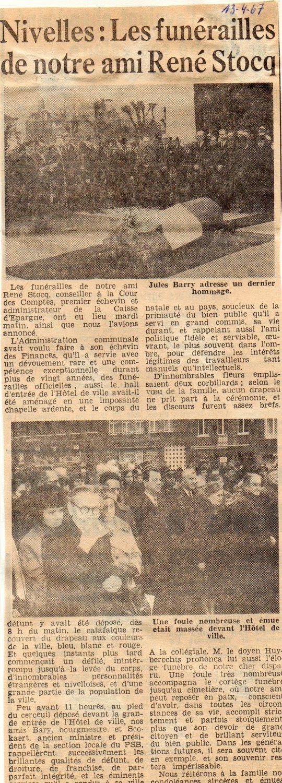 """Article paru le 13/4/1967 dans le journal """"Le peuple"""""""