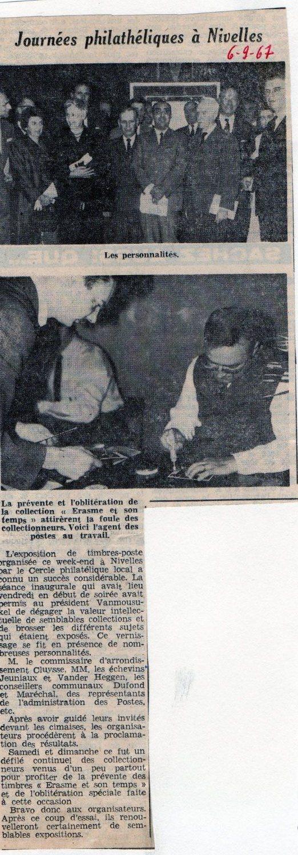 """Article paru le 6/9/1967 dans le journal """"Le Peuple"""""""