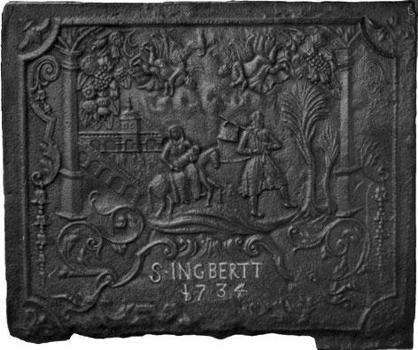 Inv.-Nr. 206   Flucht nach Ägypten, Kaminplatte 91 x 76 cm, St. Ingbert, dat. 1734