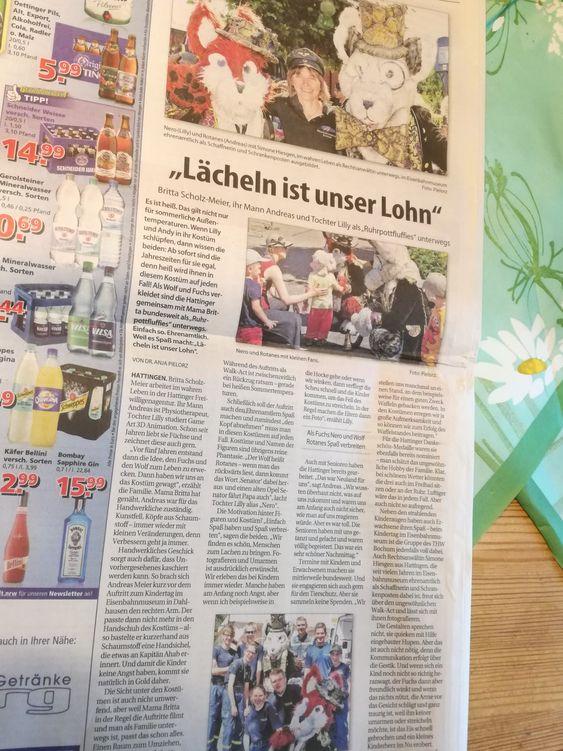 Zeitungsartikel über Nero und Rotanes im Stadtspiegel Hattingen, Sprockhövel und Bochum.