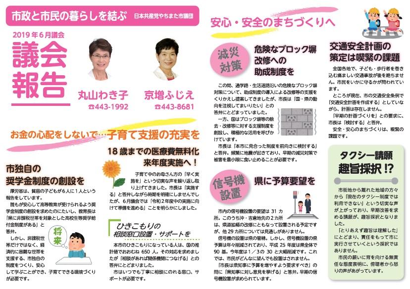 市政と市民の暮らしを結ぶ 日本共産党やちまた市議団 議会報告 2019年6月 お金の心配をしないで…子育て支援の充実を