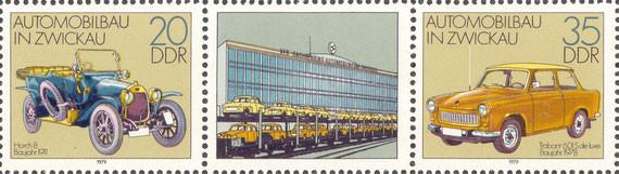 Briefmarke Automobilbau in Zwickau 20 und 35 Pfennig DDR 1979