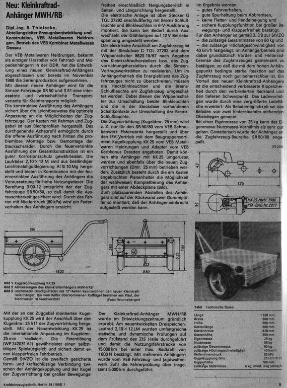 Bild: Simson,Mopedanhänger,MWH/RB,VEB Metallwaren Heldrungen,Beitrag aus KFT 1989