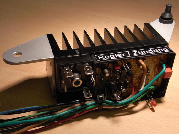 Bild: Elektronischer Regler,Elektronikzündung,elektronische Zündung,MZ Motorrad,Eigenbau,AMP Steckverbinder,wassergeschützt