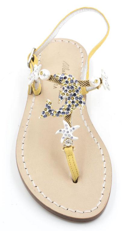 tecnologie sofisticate bambino offrire sconti sandali infradito artigianali con delfino swarovski gialli.