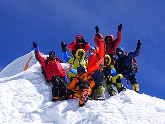 Gipfelerfolg am 8.163 m hohen Manaslu, AMICAL alpin Gipfelerfolg, Gipfelerfolg am Manaslu, Gipfelfoto Manaslu