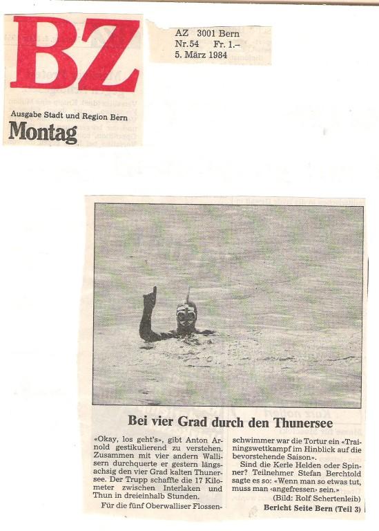 1985 Zeitungsausschnitt der Seeüberquerung