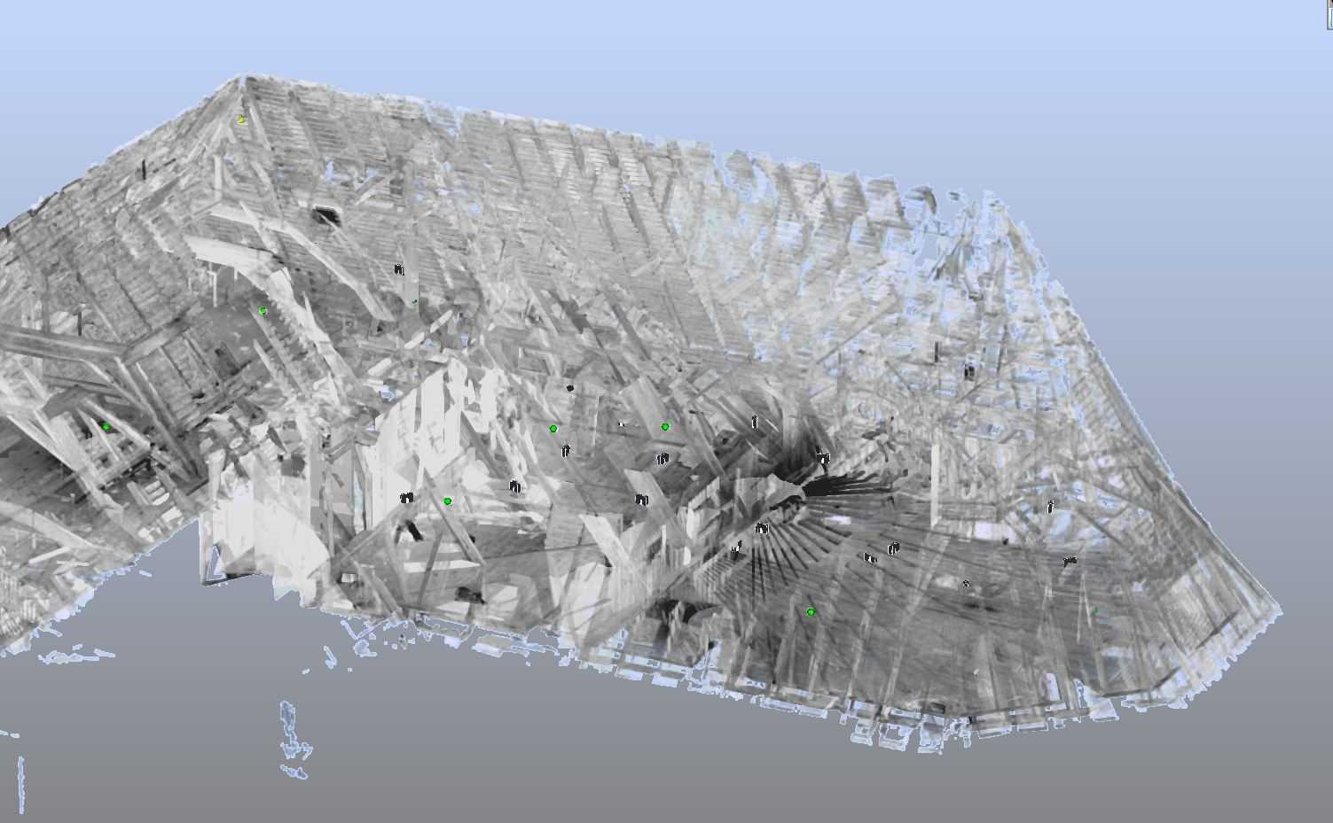 3D Scan ehem. Fabrik Dachstuhl