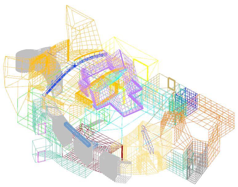 3D Drahtgittermodell farbig