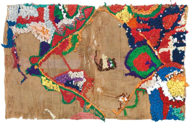 Bu Sherwit, zeitgenössisch, Recyclingmaterial, Marokko, 68 x 108 cm