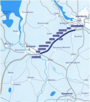 BAB A 1, Bremen - Hamburg, Streckenabschnitt AK Bremen Nord - AS Buchholz