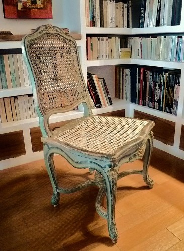 dossier et assise en cannage traditionnel chaise Régence