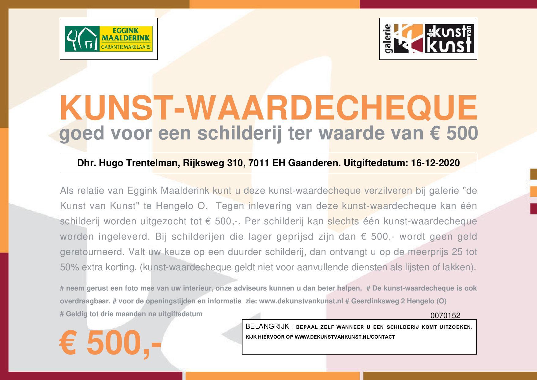 Bon voor kunst ter waarde van 500 euro - Aangeboden door Hugo Trentelman