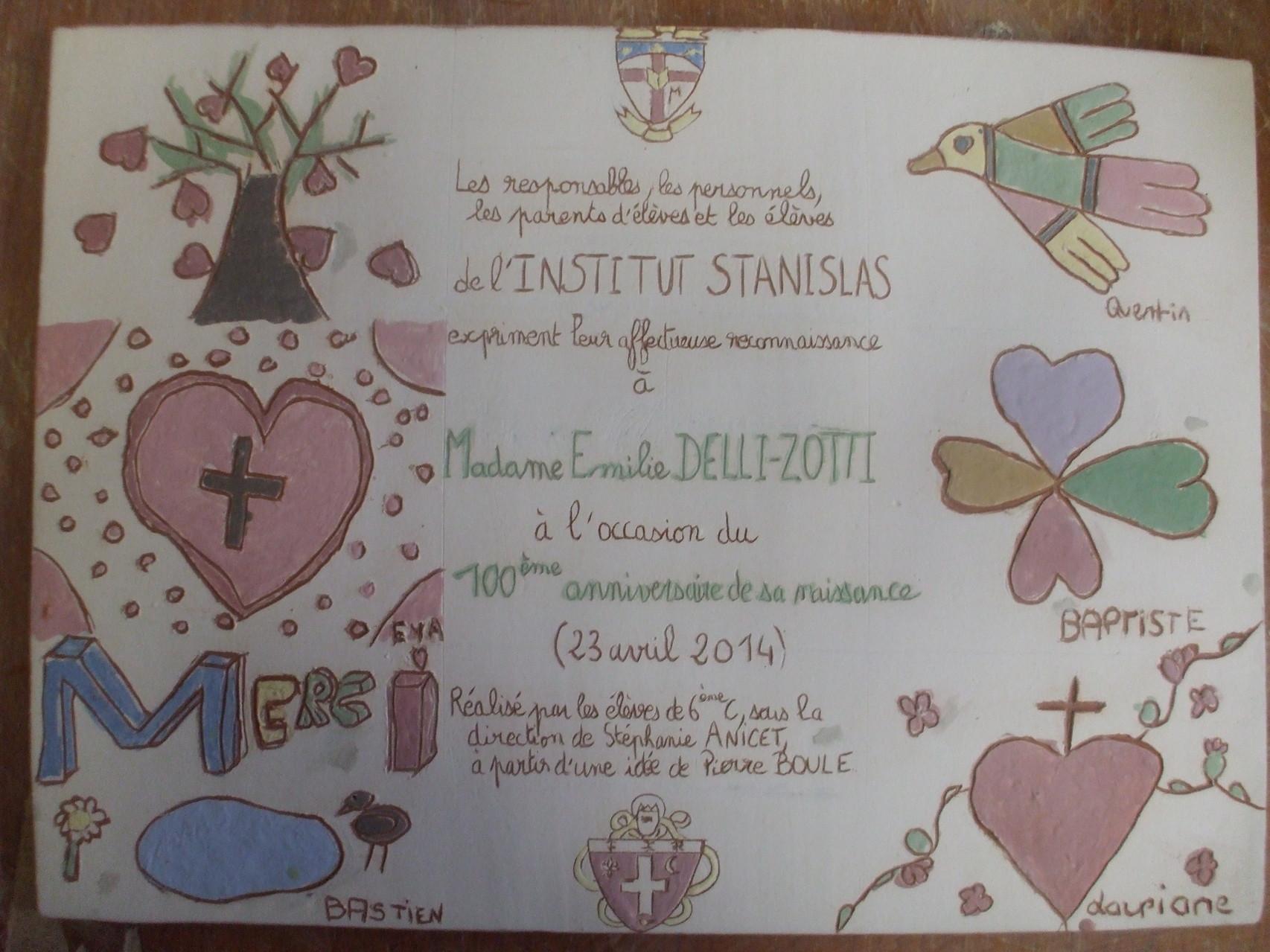 Plaque commémorative réalisée avec des adolescents du collège Stanislas.