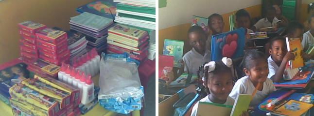 """Schulmaterialien; die Kinder des """"Centro Educativo"""" mit Schulmaterialien"""