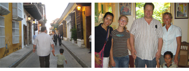 In den Straßen von Cartagena. Daneben: die Familie Schuhmacher mit Dolmetscherin Maria Isabel Lara di Benedetti