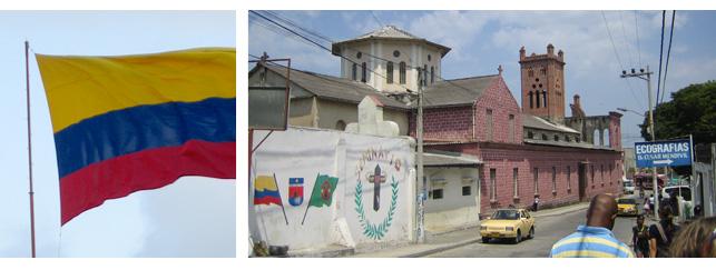 Impressionen: kolumbianische Flagge und die Missionsstation der Claretiner in Caratagena