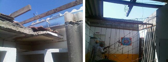 """Das """"alte"""" Dach wurde abgerissen und mit den Arbeiten am """"neuen"""" Dach wurde bereits angefangen"""