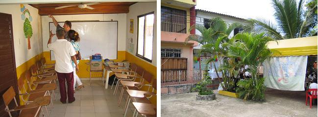 """In einem Klassenzimmer mit termitengeschädigter Decke; """"Centro Educativo"""" von außen"""