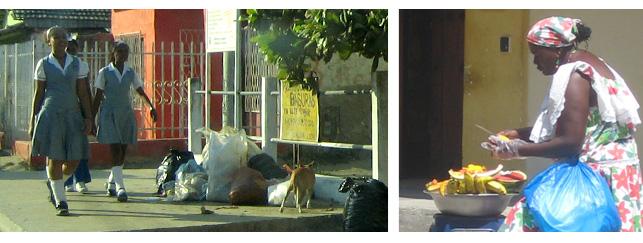 Schulkinder wohlhabender Eltern und Obstverkäuferin am Straßenrand
