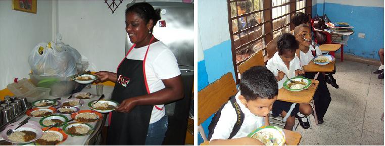 Die Köchin bei der Essensausgabe; die Kinder essen auch an ihren Schultischen in der Schule